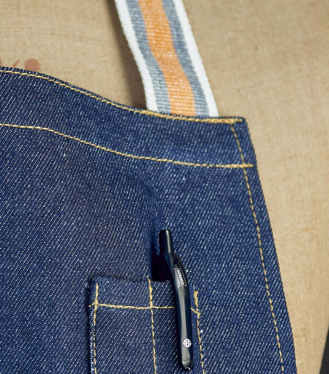 denim apron with pen pockets and stripes straps - Made in Britai