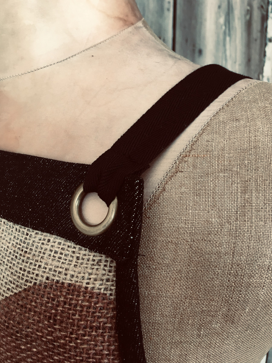 Eyelet detail of reused coffee sack apron - made in the UK