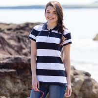 Womens striped piqué polo shirt
