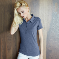 Womens melange short sleeve polo