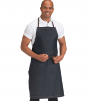 Denim Bib Apron Yellow Stitching