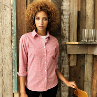 Women's Gingham long sleeve cotton shirt