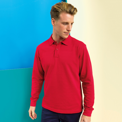 Mens classic fit long sleeved polo