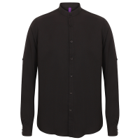 Mandarin Collar, Roll Sleeve Shirt