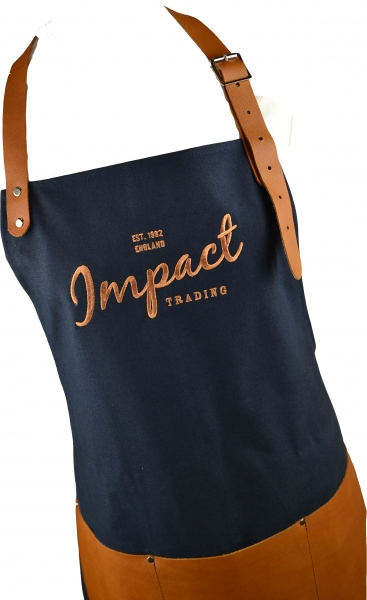 Leather trim made to order apron Impact Trading.jpg