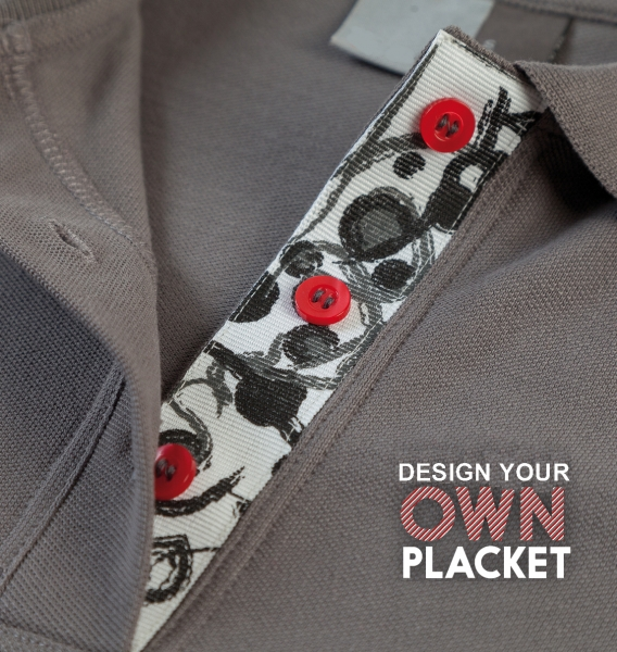 Customised plackets for polo shirts